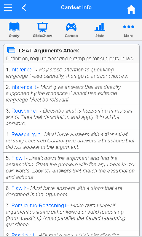 LSAT Flashcards - screenshot