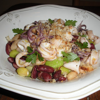 Warm Squid Salad with Saffron-Sherry Vinaigrette and Lemon Breadcrumbs.