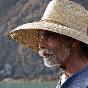 Beach Guy by Barbara Brock - People Portraits of Men ( beard, beach, beach bum, man, straw hat,  )