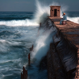 Fisherman by Alik Zlotnik - Uncategorized All Uncategorized ( tel-aviv port, mediterranean, sea, fisherman, landscape, israel, medetarainian )