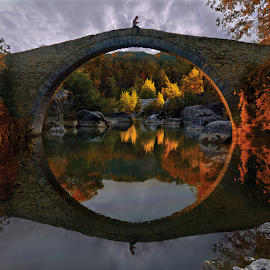 -------- by Dimitrios Lamprou - Buildings & Architecture Bridges & Suspended Structures ( mirror, reflection, sky, autumn, bridge )