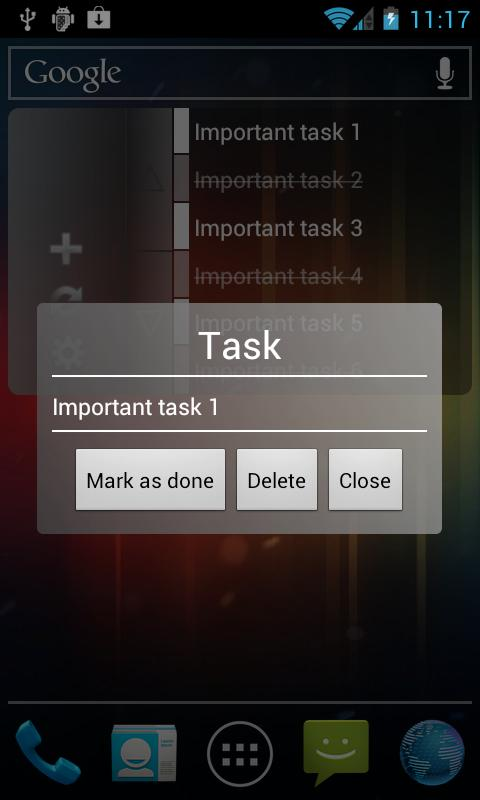 Clean GTasks Widget- screenshot