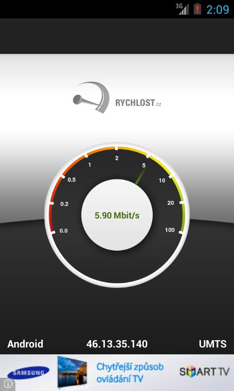 Rychlost.cz - měření připojení - screenshot