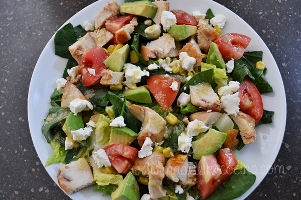 Spinach Salad with Chicken, Avocado, and Corn Recipe