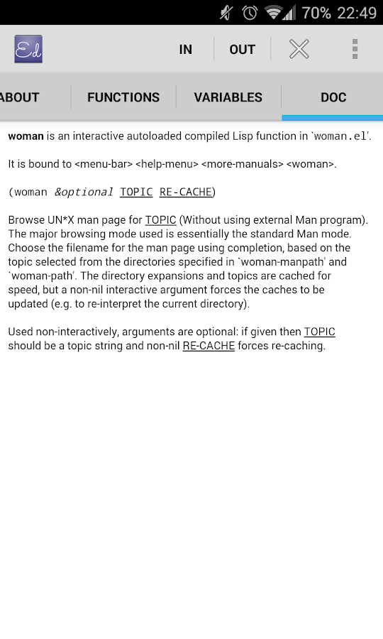 Emacs Documentation- screenshot