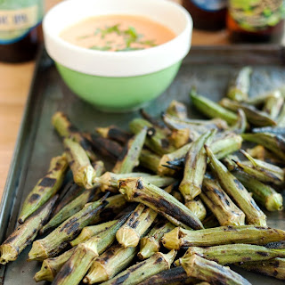 Grilled Okra with Spicy Chipotle Dipping Sauce