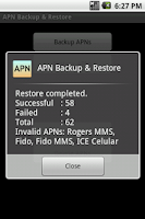Screenshot of APN Backup & Restore