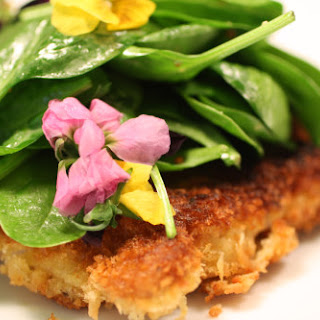 Dijon Pork Paillard with Spinach and Flower Salad