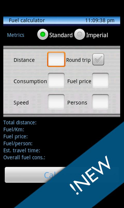 Trip calculator - screenshot