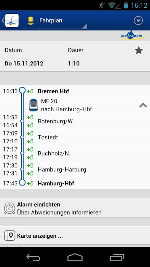 metronom FahrPlaner- screenshot