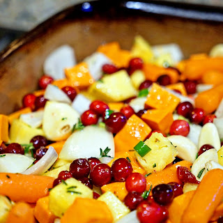 Roasted Sweet Potatoes, Cranberries and Pineapple with Serrano and Rosemary