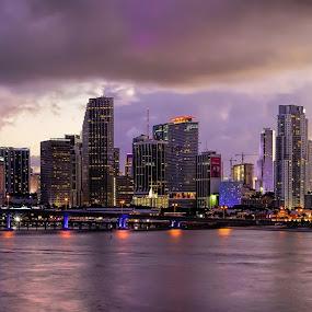 Miami Downtown  by Jean Perrin - City,  Street & Park  Skylines ( miami downtown, sunset, miami )