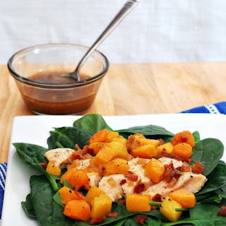 Chicken, Squash and Spinach Salad with Bacon Vinaigrette #WeekdaySupper