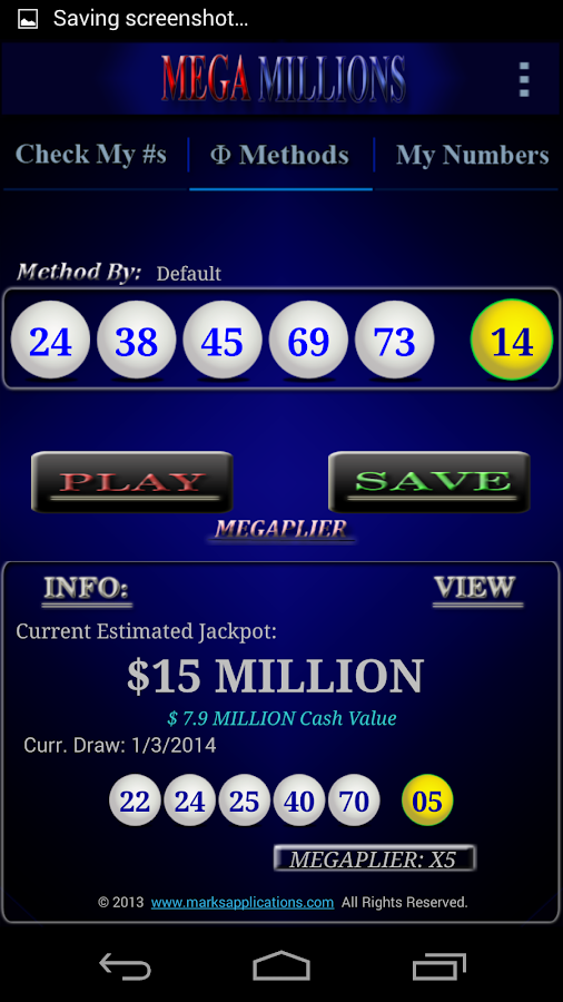 Mega Millions App- screenshot