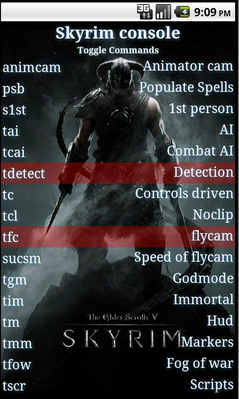 Skyrim console commands - screenshot