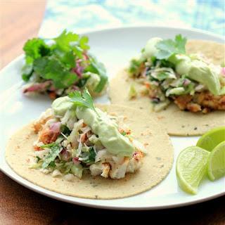 Avocado Cream Slaw Fish Tacos.