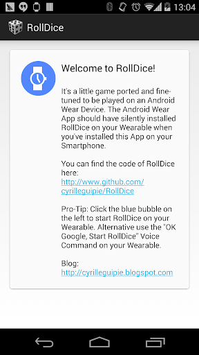 RollDice Android Wear