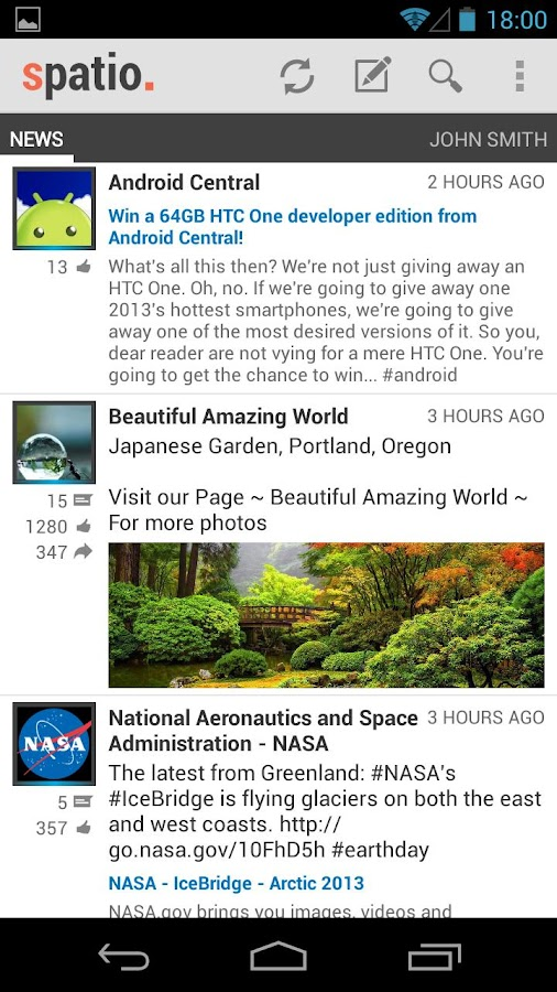 Spatio (Facebook client) - screenshot