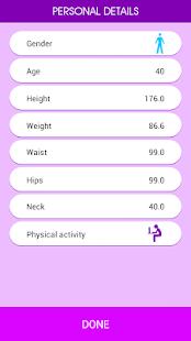 Health calculator screenshot