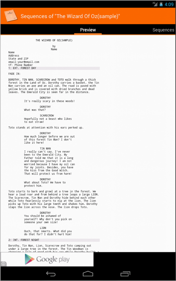 MyScreenplays Free - screenshot