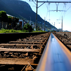 Kalk Bay Tracks by Reon Rich - Transportation Railway Tracks ( kalk bay, railway, mountian, ocean, cape town, railway tracks,  )