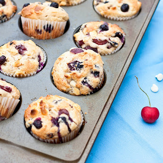 Cherry, Blueberry, and White Chocolate Muffins Recipe