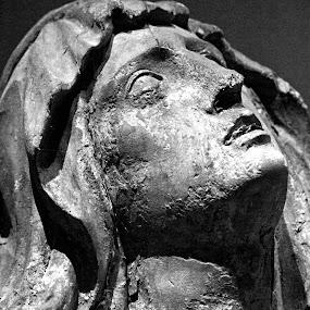 Rapture by Christine Schmidt - Black & White Objects & Still Life ( munich, statue, cemetery, münchen, virgin mary, historic )