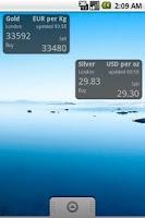 Screenshot of BullionVault Price Widget
