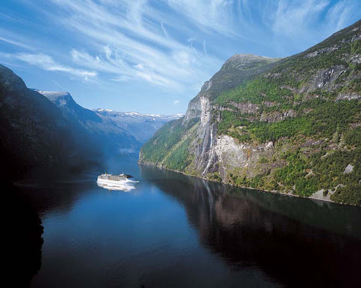 Costa-Atlantica-Norway-fjord - Costa Atlantica passing through one of Norway's fjords. The ship now sails Asia itineraries out of Shanghai, China.