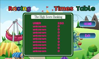 Screenshot of Racing Times Table