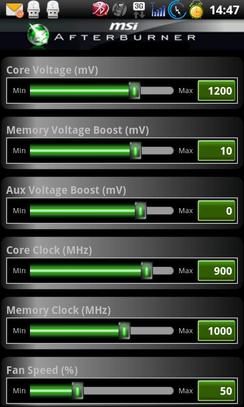 MSI Afterburner APP- screenshot