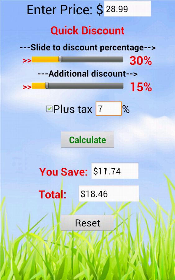 Quick Discount Calculator- screenshot