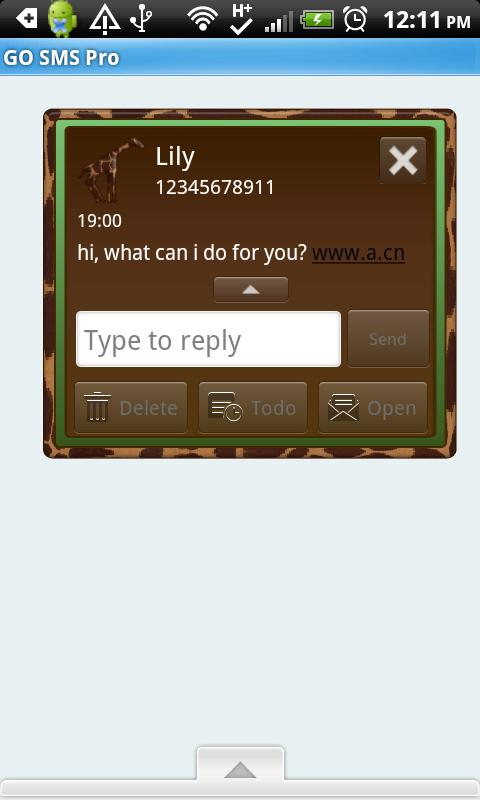 GO SMS THEME/GreenGiraffe - screenshot