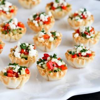 Mini Hummus & Roasted Pepper Phyllo Bites.