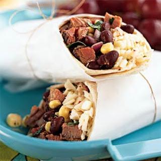 Southwestern Steak, Corn, and Black Bean Wraps.