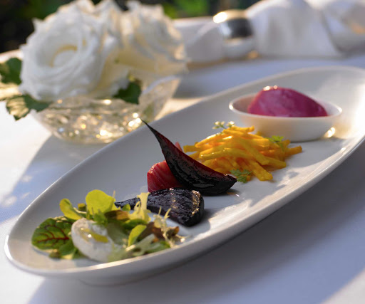 An appetizer dish at Allure of the Seas' 150 Central Park, overseen by James Beard Award-winning chef and Miami restaurateur Michael Schwartz.