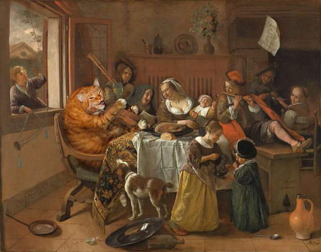 Zarathustra the Cat visits Jan Steen's Merry Family
