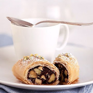 Chocolate-Pistachio Phyllo Rolls