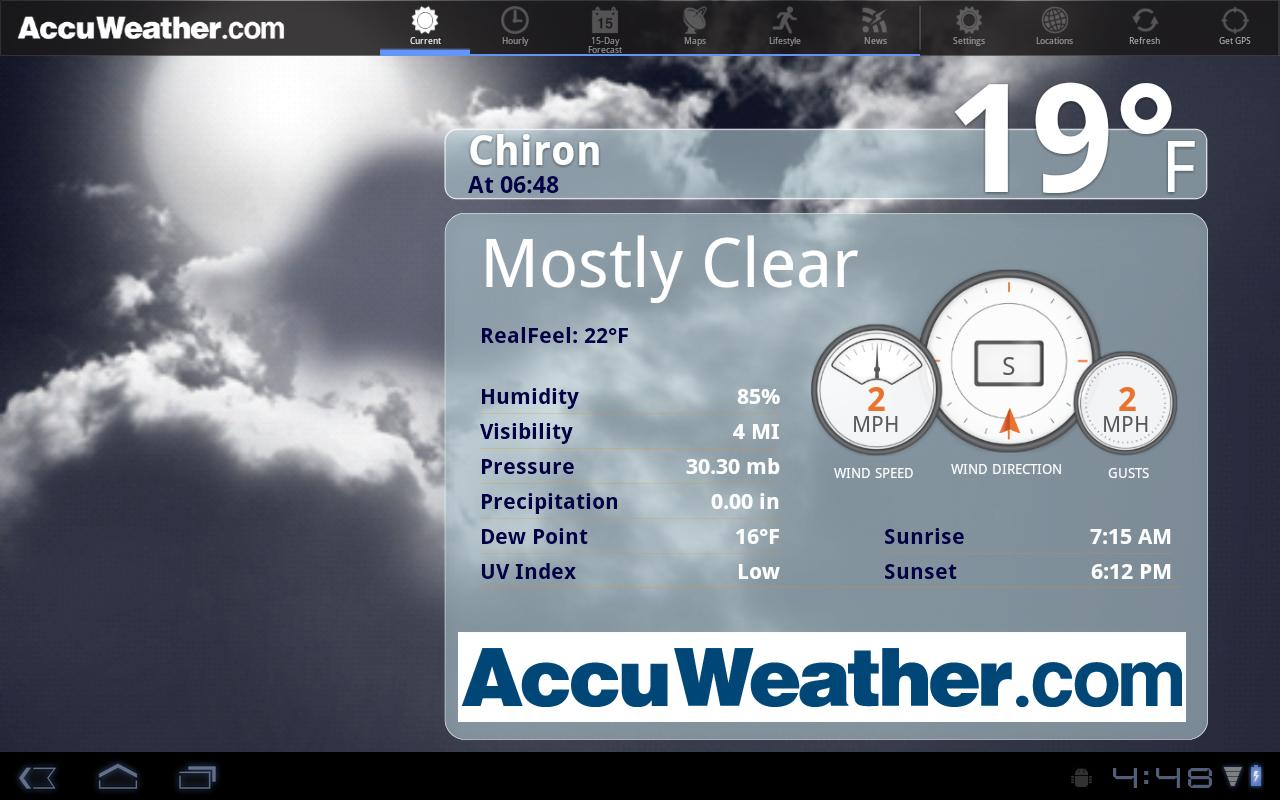 AccuWeather for Sony Tablet S - screenshot