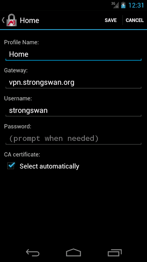 strongSwan VPN Client - screenshot