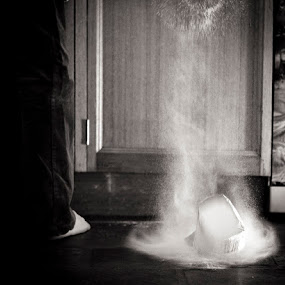 Ooppps by Jodi Turner - Black & White Portraits & People ( person, flour, foot, food, drop, white, kitchen, black )