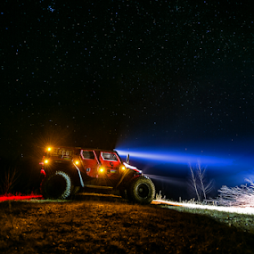 Night Mission by Sabin Malisevschi - Transportation Automobiles ( 4x4, sky, utility, offroad, stars, rescue, beam, night, ghe-o, light, shot, photography )