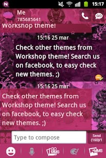 GO SMS Theme Pink Dark Star - screenshot thumbnail