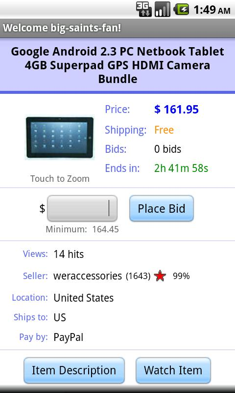 Pocket Auctions eBay - screenshot