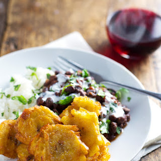 Puerto Rican Fried Plantians with Rice and Beans Recipe