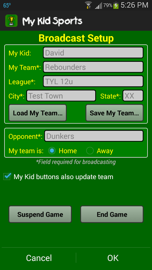My Kid Scoreboard- screenshot