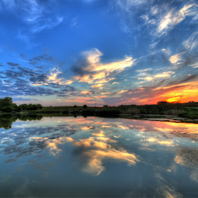 goodnight at the pond by Casey Mitchell - Landscapes Sunsets & Sunrises (  )
