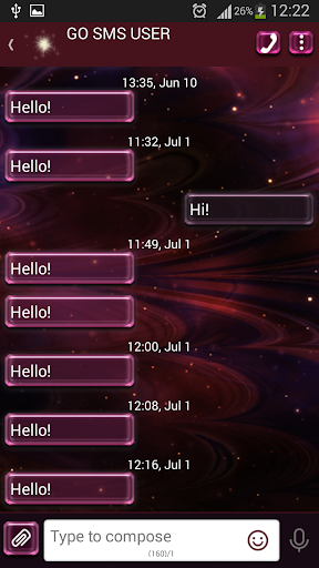 GO SMS Pro Shiny Stars
