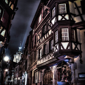 HDR à Colmar by Pierre Husson - City,  Street & Park  Historic Districts ( old street, night scene, france, alsace, colmar )