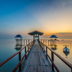 Blue and Yellow by M. Tuflichun Alfath - Buildings & Architecture Bridges & Suspended Structures ( moon, blue, indonesia, east java, yellow, sunrise )